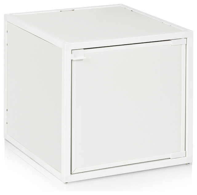 Way Basics Box Storage Cube Stackable, White modern-coffee-tables