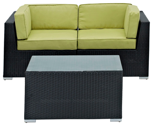 Camfora Outdoor Wicker Patio 3 Piece Sofa Set in Espresso with Peridot Cushions modern-outdoor-sofas