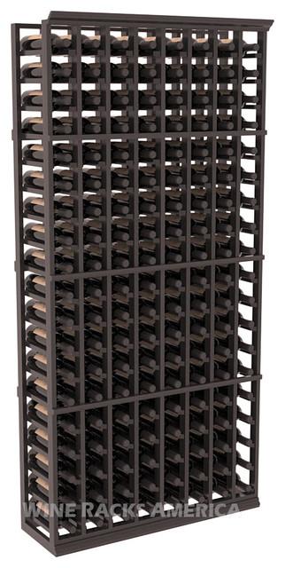 8 Column Standard Cellar Rack in Redwood with  Black Stain + Satin Finish traditional-wine-racks