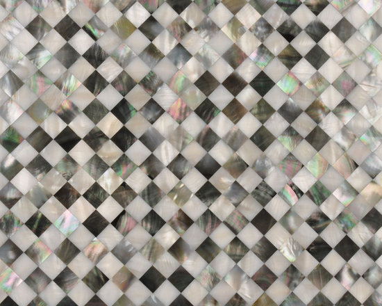 shell tile project materials - blended white and black lip mother of pearl mosaic tiles suitable any interior exterior wall covering for luxury spaces.