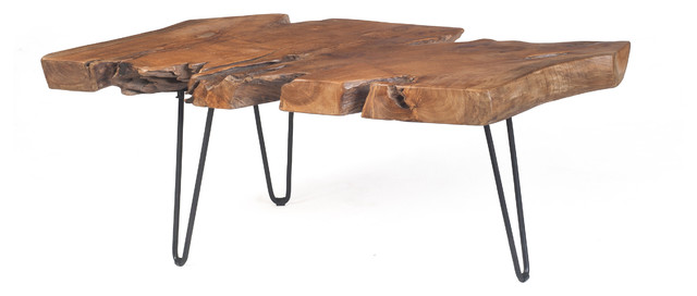 Teak Slab Coffee Table with Hair Pin Legs - Contemporary - Coffee Tables - chicago - by Michael ...