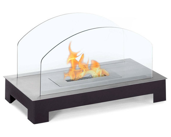 Moda Flame - Rota Table Top Ethanol Fireplace - Rota is perfect contemporary ethanol table top personal fireplace for any setting, indoor or outdoor with its posh powder coated steel base. The contemporary and unique design has curved tempered glasses.