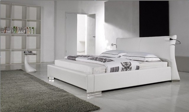 white leather queen size platform bed with attached lighting. Black Bedroom Furniture Sets. Home Design Ideas