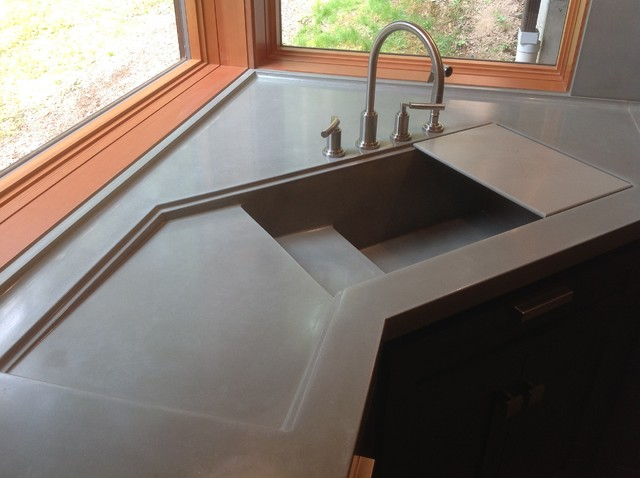 Integral Concrete Kitchen Sink Contemporary Kitchen