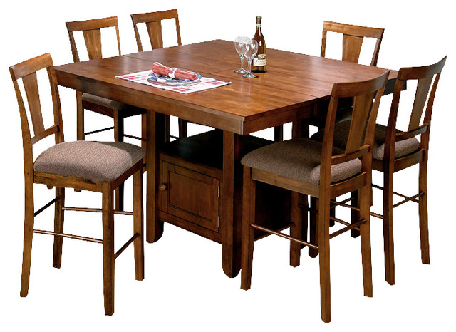 oak 7 piece butterfly leaf counter height set traditional dining sets