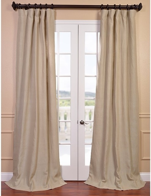 Natural french linen lined curtain panel contemporary curtains