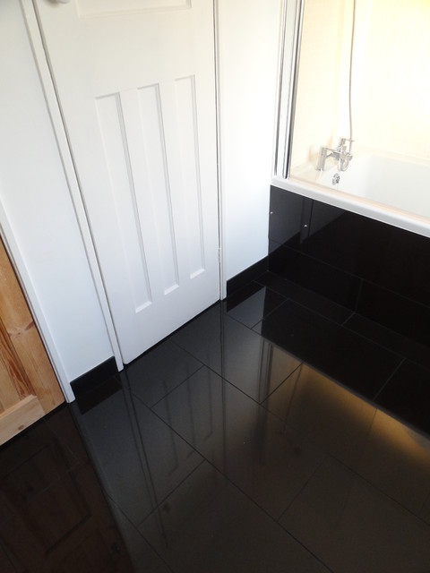 Reflection Of Woodwork In Gloss Black Porcelain Tiles Modern