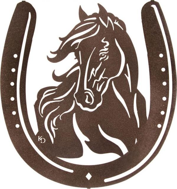 Western Mustang Metal Wall Art in Horse Shoe - Rustic - Wall Sculptures - by MyBarnwoodFrames