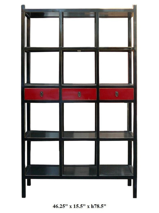 Black & Red Color Solid Wood 3 Drawers Display Cabinet / Book Shelf - This is a simple but elegant design display cabinet. It is made of solid elm wood and has classic black and red color.