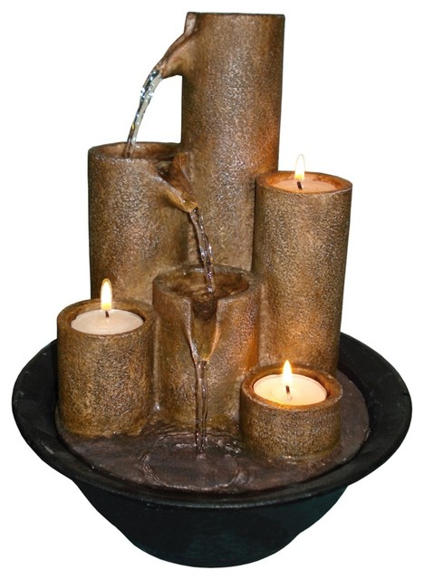 Three Candles Tabletop Candle Fountain Traditional