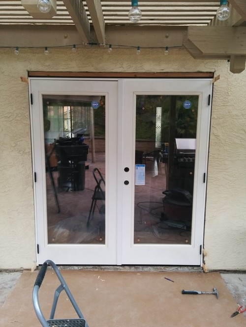 Stucco On French Door Installation