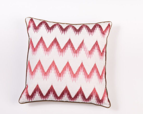 "Pillows - Luxurious colors and flame-stitch infused pattern give this 20""X20"" Linen pillow a touch of decedence."