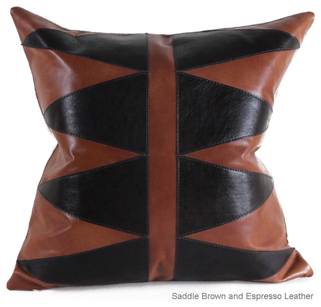 Geometric Leather Pillow, Saddle Brown & Espresso Leather, 22x22 contemporary-decorative-pillows