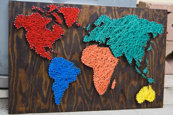 Nail Wall Art World Map, Primary Pleasures Palette by Etsybybetsy eclectic artwork