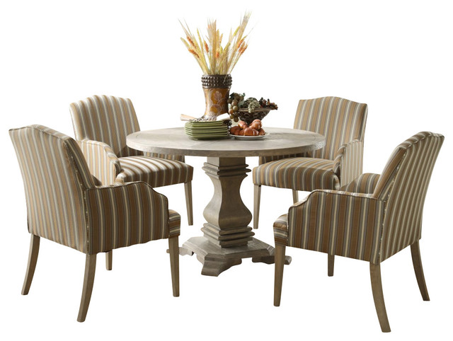 Homelegance euro casual 5 piece round pedestal dining room for Traditional round dining room sets