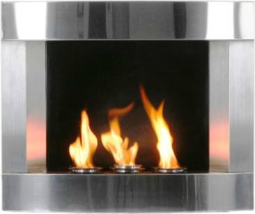Stainless Steel Wall-mount Fireplace contemporary-indoor-fireplaces
