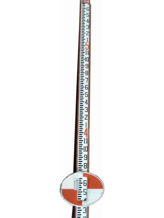 Surveyors Measuring Stick - Great font on this one, red, white and wood.