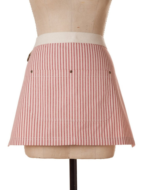 """Birdkage - Brittany Mini Half Apron, Red - Details include:-Cream natural cotton webbed waistband-Blue jean rivets at the pockets & contrasting topstitching-Packaged in a re-usable cotton drawstring bagMade in New York, USA16 Long x 26"""" Wide x 50"""" Ties"""