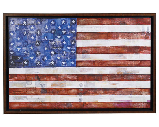 """Ethan Allen - Foundation - An exclusive giclee on canvas, this study of the American flag includes iconic words and images, such as """"We the People,"""" the Liberty Bell, and sheet music for """"This Land is Your Land.""""  A dark recess around the image creates the impression that the flag floats in the box-style frame. The frame's distressed front veneer is a nod to history and time. The frame and the stretcher are both solid kiln-dried wood."""