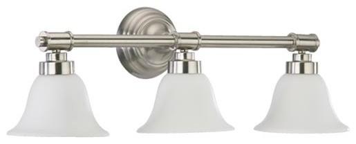 Three-Light Satin Nickel Bath Fixture traditional-bathroom-lighting-and-vanity-lighting