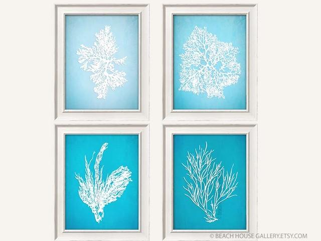 Blue coral artwork blue wall art coral prints coral art for Blue wall art