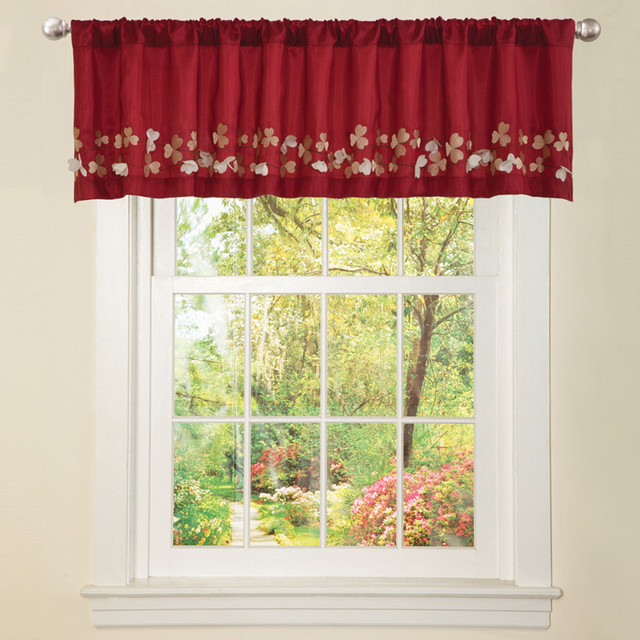 Red Faux Silk Flower Drop Window Valance  Contemporary  Artificial