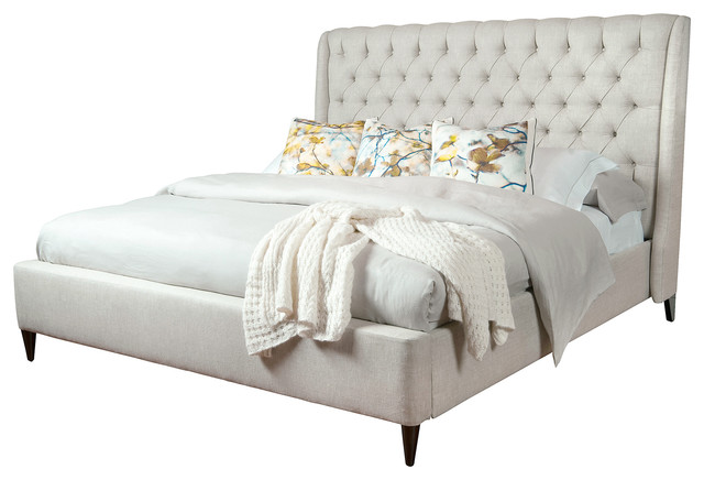 Wayfair Tufted Headboard Bedding Bedroom Transitional With: Kara Hollywood Regency Button Tufted Fawn Linen King Bed