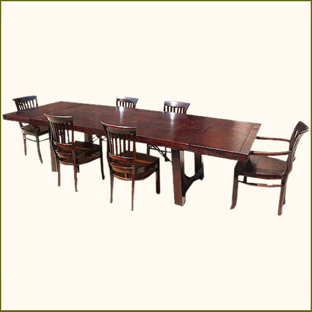 Rustic wood dining room table chairs set with extension for All wood dining room sets