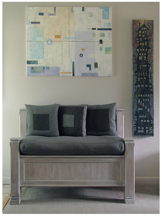 "it'sALLart - Paintings/Pillows - Recently re-finished bench with cashmere and denim pillows, designed/produced by Keith J. Hampton. Painting above, ""Floating"", by Keith J. Hampton"