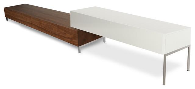 Ascoli Walnut-White Lowboard Set modern-media-storage