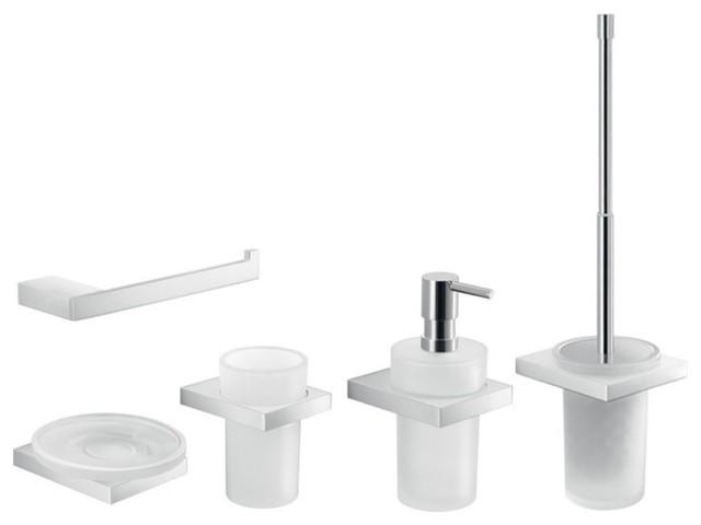 Modern 5 Piece Chrome Hardware Accessory Set - Contemporary - Bathroom Accessory Sets - by ...
