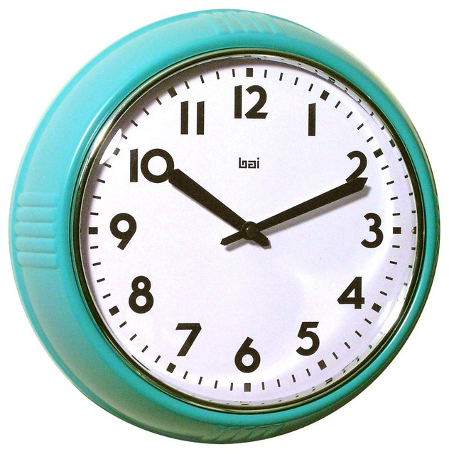 Bai School Wall Clock, Turquoise - Modern - Clocks - by Amazon