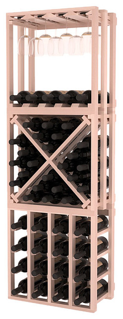 Lattice Stacking Cube- 3 Piece Set in Redwood w/ White Wash Stain + Satin Finish traditional-wine-racks