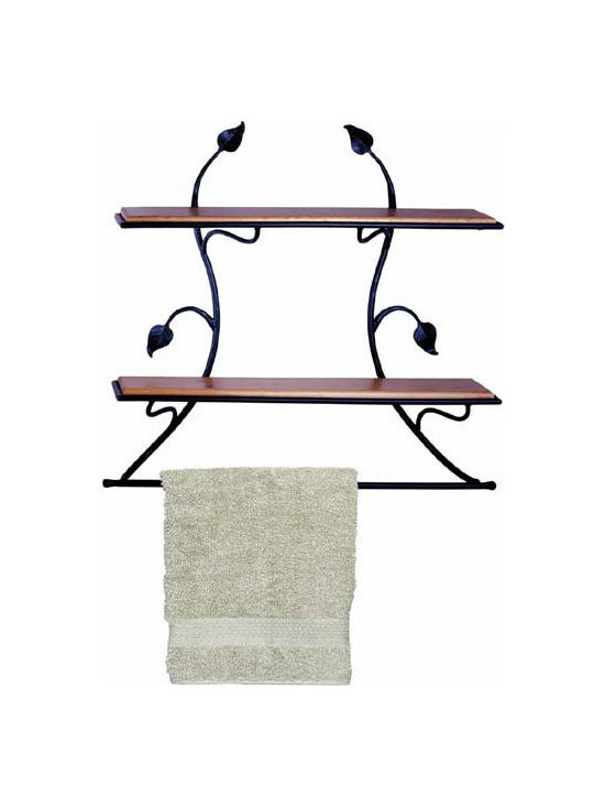 """Leaf Wall Shelf by Stone County Ironworks - This beautifully designed iron shelve features the hand-hammered leaves of the Stone County Ironworks, signature Leaf collection. Blacksmiths at Stone County Ironworks produce each product by hand, here in the USA, so each finished item is always a unique piece. Hand made and finished to order, some customization is available for an up-charge in price. Dimensions: 30""""w x 8""""d x 29""""h"""