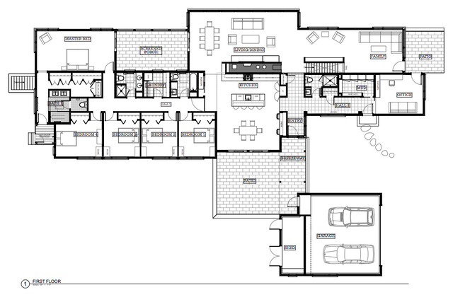 001. Modern Renovation & Addition, Hingham MA traditional-floor-plan