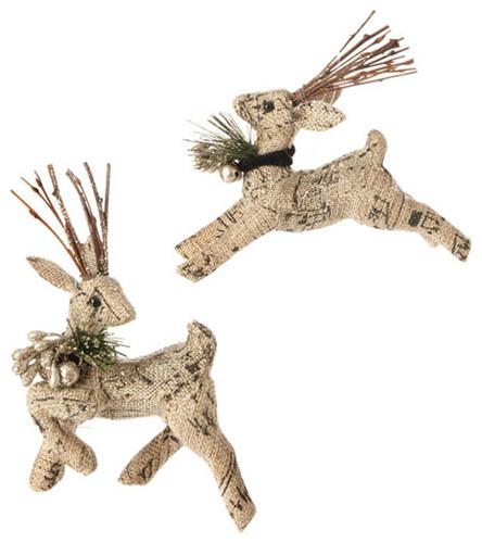 Raz Burlap Deer Ornament rustic-christmas-ornaments