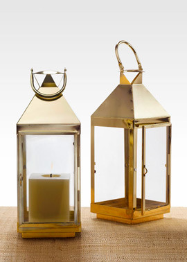 Shiny Brass Square Lantern traditional candles and candle holders