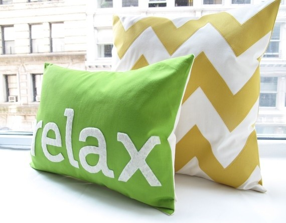 Relax Pillow in Apple Green by HoneyPieDesign - Contemporary - Decorative Pillows - by Etsy
