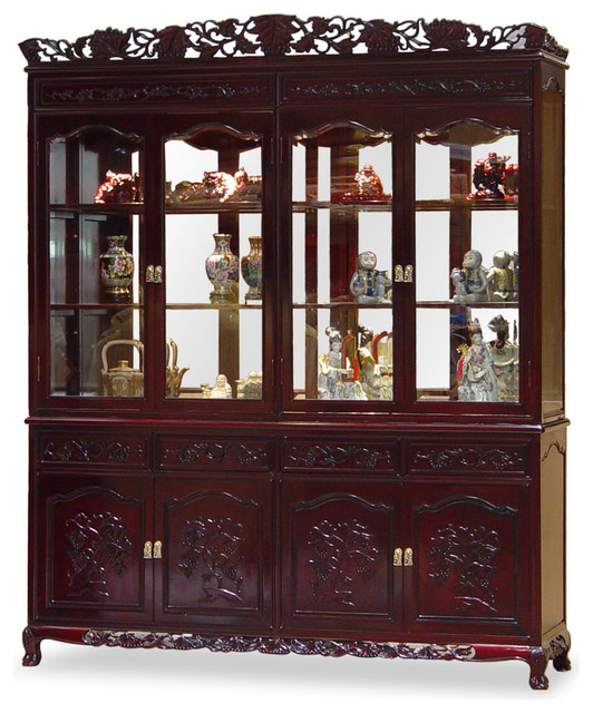 72in Rosewood French Queen Ann Grape Motif China Cabinet ...