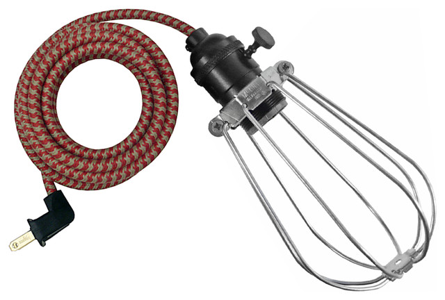 The Vesey Lamp, Red & Putty Cord, Pendant industrial-pendant-lighting