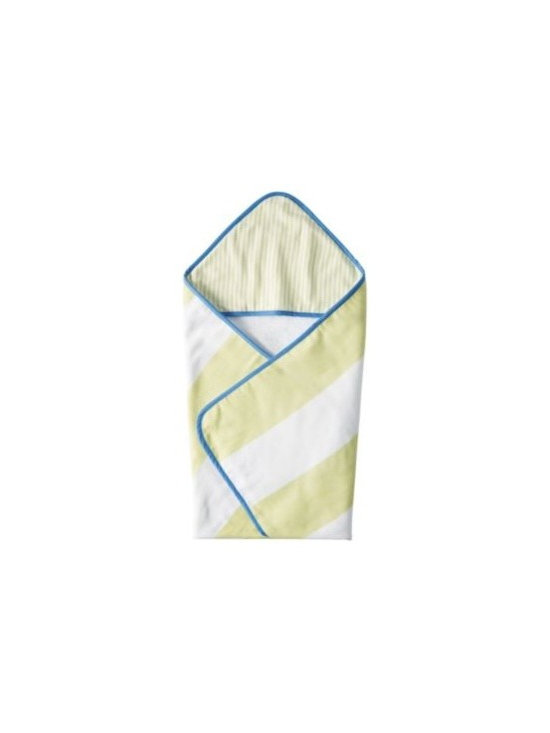 Serena & Lily - Fouta Hooded Towel  Lime - Generously sized with smooth cotton on the outside, snuggly looped cotton terry on the inside. With chunky stripes and lively colors, this is quite possibly the cutest hooded towel ever. Lime with ultramarine trim.