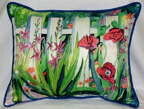 Fence & Flowers Indoor Outdoor Pillow traditional-decorative-pillows