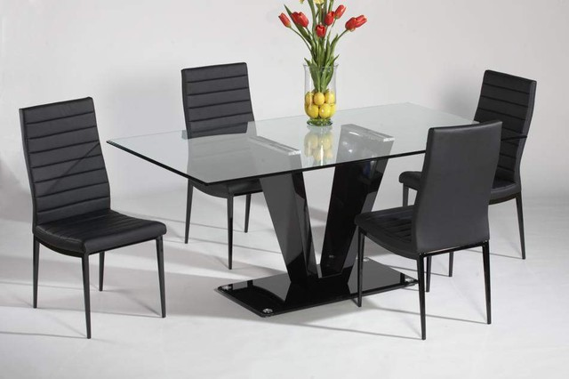 Refined glass top leather italian modern table with chairs for Contemporary dining table designs