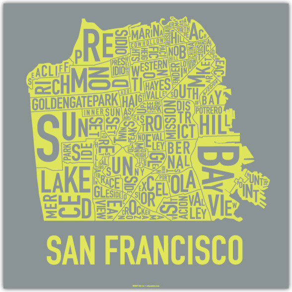 San Francisco Screen Print, Mostly Sunny modern artwork