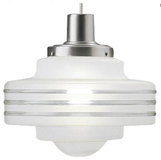 Art Deco Single-light Pendant with Handblown Satin White on Clear Glass Shade contemporary-pendant-lighting