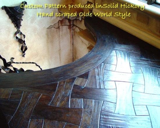 Hand-scraped hickory parquet & plank - Custom hand-scraped prefinished solid hickory parquet pattern.