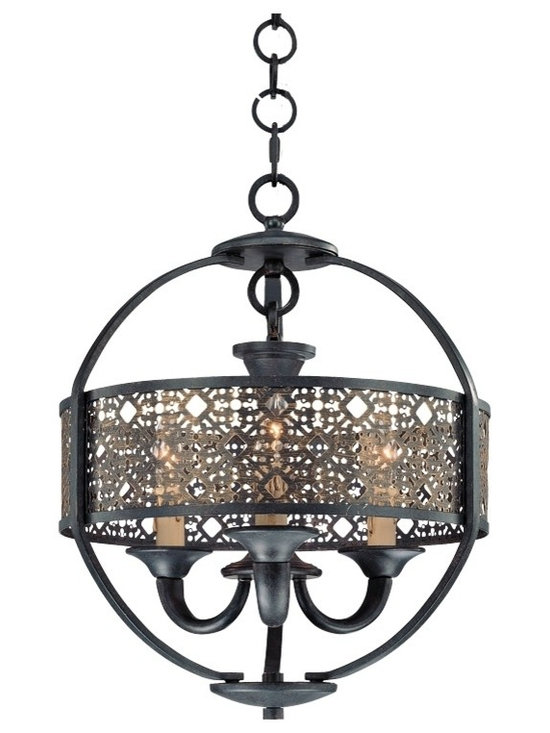 "Eurofase - Eurofase Arsenal 16"" Wide Bronze and Gold Chandelier - A laser-cut metal shade in Ancient Bronze finish surrounds three lights atop glistening antique gold finish candle slips in this handsome traditional pendant. Encircled by a metal slat with decorative curves beneath this light will add weight and charm to a hallway kitchen or dining room. Includes a ceiling canopy and 72"" chain for hanging. An elegant modern design from Eurofase. Handsome vintage-look 3-light pendant. Ancient bronze finish outer frame. Gold finish candle slips. Metal construction frame. Three max 60 watt candelabra bulbs (not included). 16"" wide. 20 3/4"" high. Includes canopy and wire. Hang weight 19 lbs.   Handsome vintage-look 3-light pendant.  Ancient bronze finish outer frame.  Gold finish candle slips.  Metal construction frame.  Three max 60 watt candelabra bulbs (not included).  16"" wide.  20 3/4"" high.  Includes canopy and wire.  Hang weight 19 lbs."