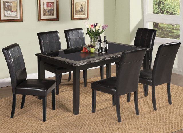 Blythe 7pc dining set in faux marble black modern Black marble dining table set