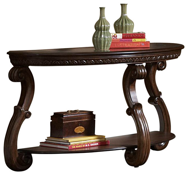 Homelegance Cavendish Half Moon Sofa Table with Glass Insert - Traditional - Console Tables - by ...