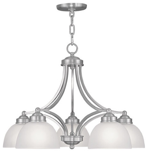 Somerset Brushed Nickel Five-Light 18-Inch Chandelier with Satin Glass contemporary-chandeliers